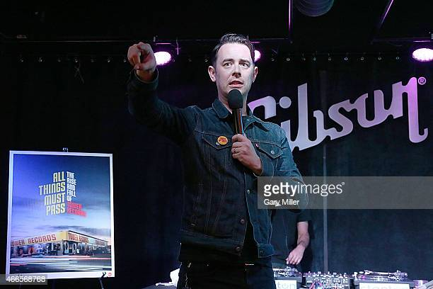 Colin Hanks speaks to the crowd during the party for his new film 'All Things Must Pass' at the Gibson Guitar Texas showroom on March 16 2015 in...
