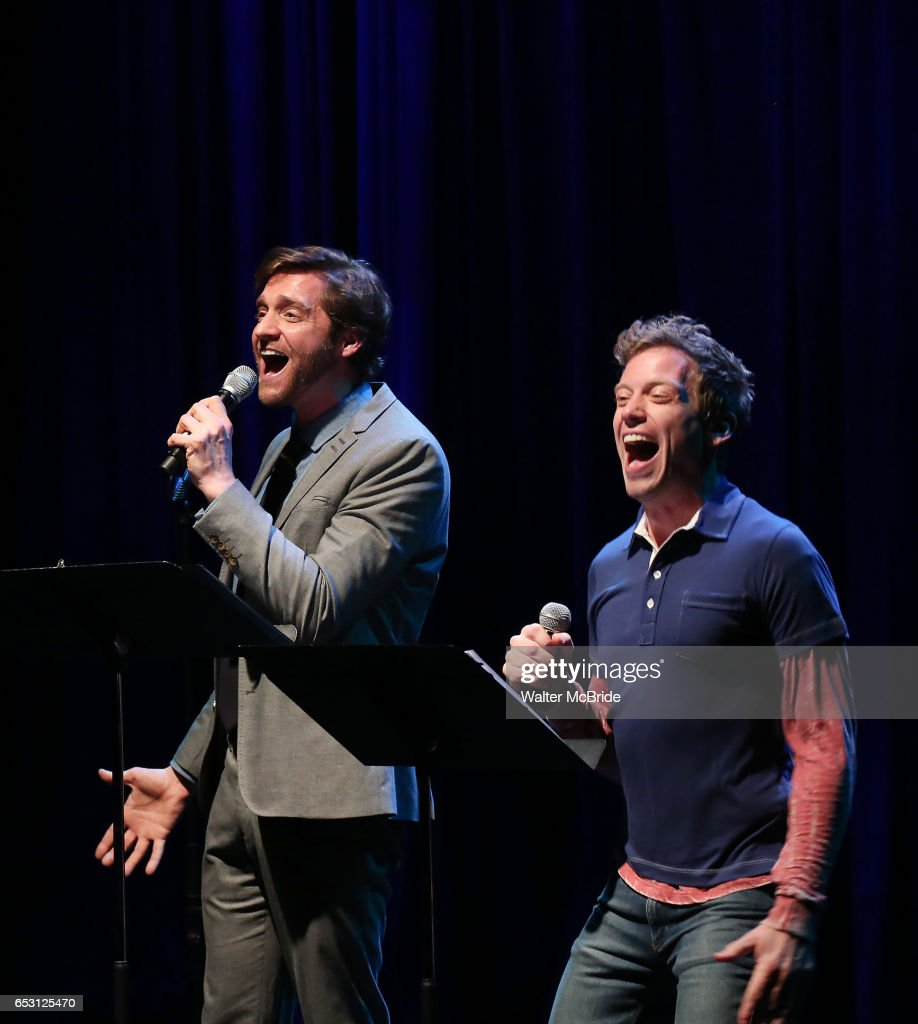 Colin Hanlon and Barrett Foa performing at the Vineyard Theatre 2017 Gala at the Edison Ballroom on March 13, 2017 in New York City.