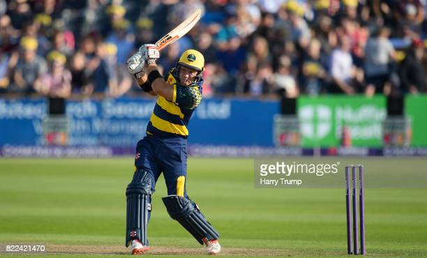 Colin Ingram of Glamorgan bats during the NatWest T20 Blast match between Gloucestershire and Glamorgan at the Brightside Ground on July 25 2017 in...