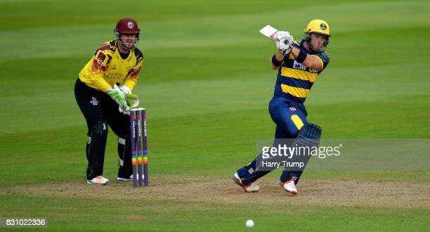 Colin Ingram of Glamorgan bats during the NatWest T20 Blast match between Somerset and Glamorgan at The Cooper Associates County Ground on August 13...