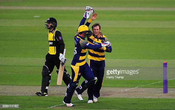 Colin Ingram of Glamorgan celebrates after dismissing Jack Taylor of Gloucestershire during the Royal London One Day Cup match between Glamorgan and...