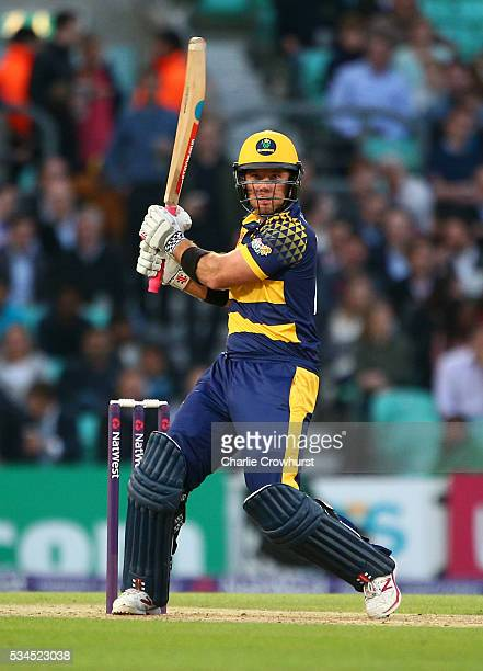 Colin Ingram of Glamorgan hits out during the Natwest T20 Blast match between Surrey and Glamorgan at The Kia Oval on May 26 2016 in London England