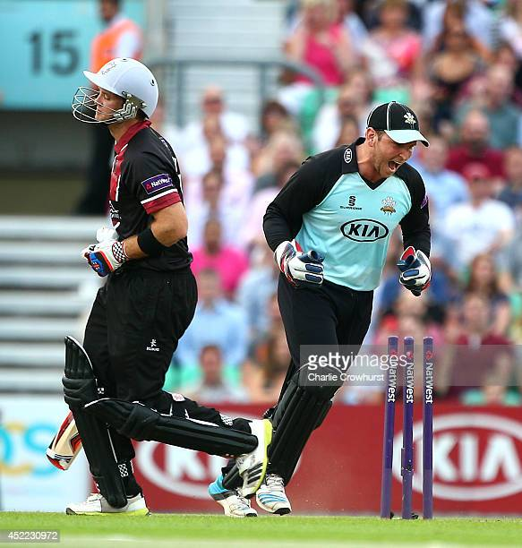 Colin Ingram of Somerset is stumped by Surrey's Gary Wilson who celebrates during the Natwest T20 Blast match between Surrey and Somerset at The Kia...