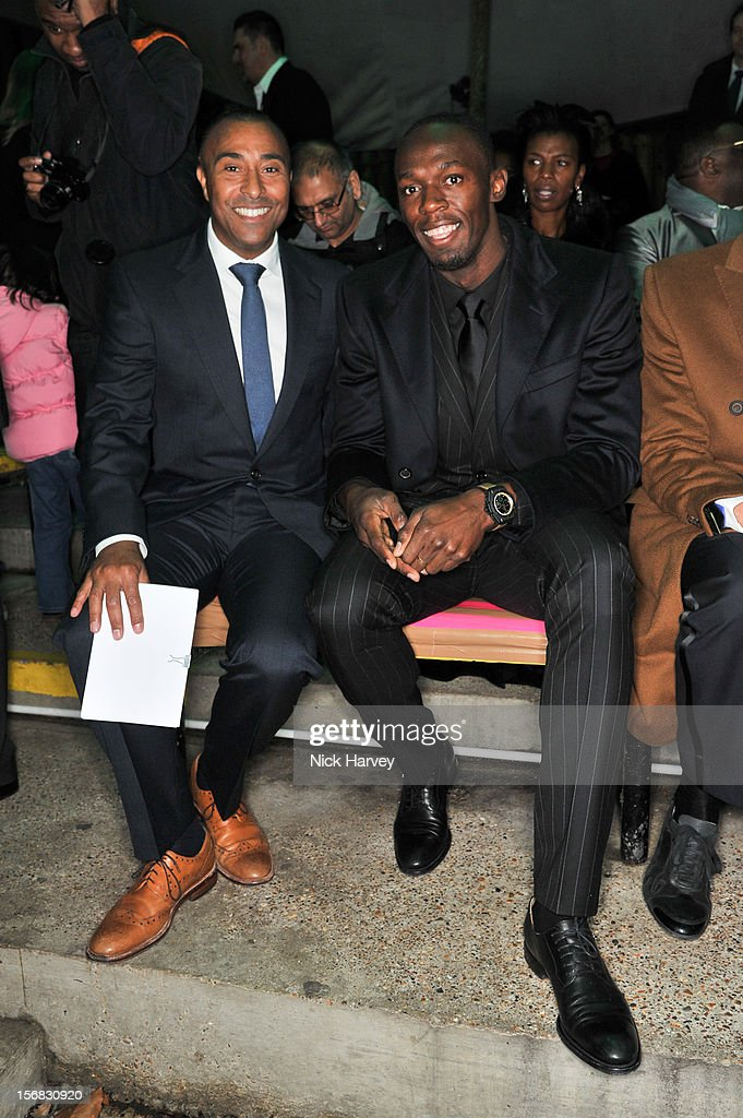 Colin Jackson and Usain Bolt attend the Zeitz Foundation and ZSL gala at London Zoo on November 22, 2012 in London, England.