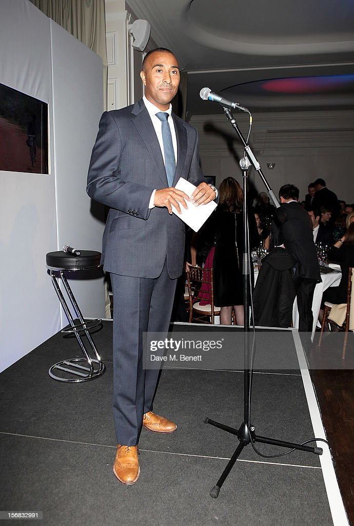 Colin Jackson speaks at the Zeitz Foundation and ZSL Gala at London Zoo on November 22, 2012 in London, England.