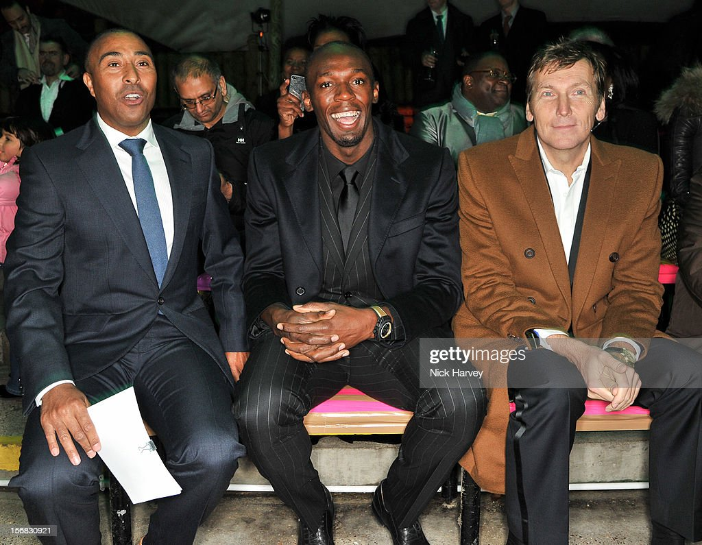 Colin Jackson, Usain Bolt and Jochen Zeitz attend the Zeitz Foundation and ZSL gala at London Zoo on November 22, 2012 in London, England.