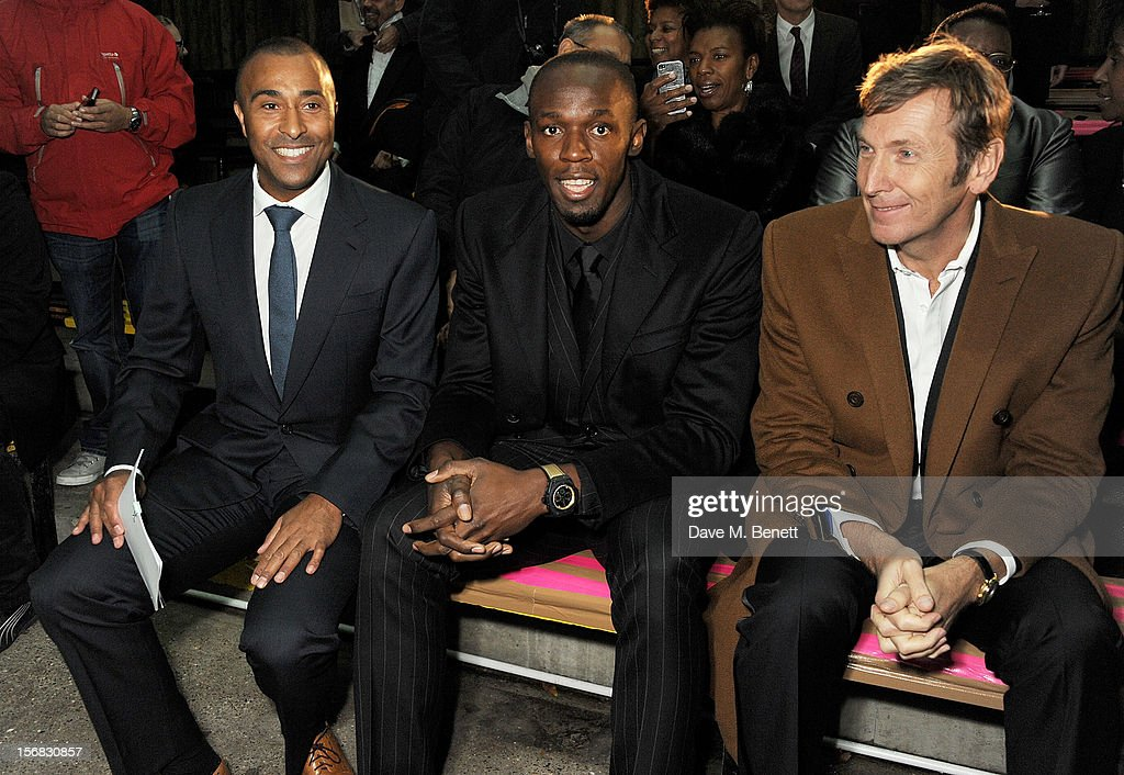 Colin Jackson, Usain Bolt and Zeitz Foundation founder Jochen Zeitz arrive at the Zeitz Foundation and ZSL Gala at London Zoo on November 22, 2012 in London, England.