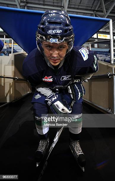 Colin Jacobs of the Seattle Thunderbirds gets ready to skate against the Kelowna Rockets at Prospera Place on January 27 2010 in Kelowna Canada