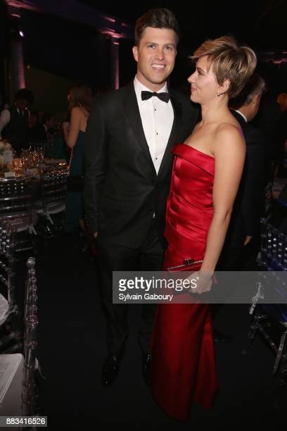 Colin Jost and Scarlett Johansson attends The 2017 Museum Gala at American Museum of Natural History on November 30 2017 in New York City