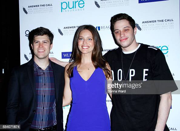 Colin Jost Emily DiDonato and Pete Davidson attend The New York Police Fire Widows' Children's Benefit Fund 4th Annual Kick Off To Summer Benefit at...