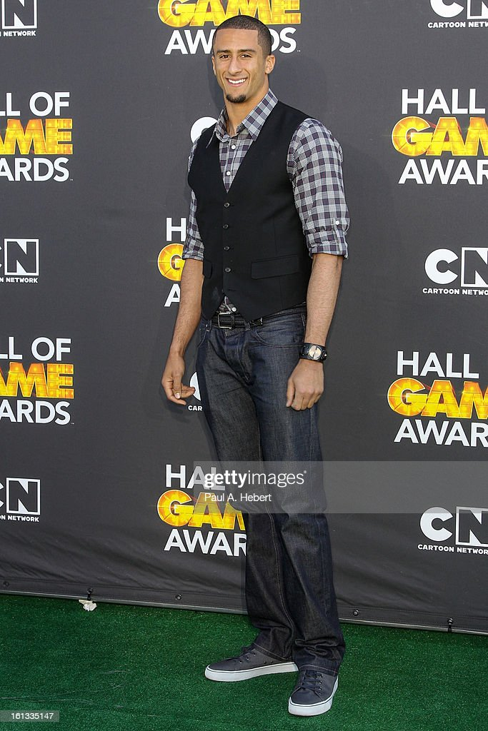 <a gi-track='captionPersonalityLinkClicked' href=/galleries/search?phrase=Colin+Kaepernick&family=editorial&specificpeople=5525694 ng-click='$event.stopPropagation()'>Colin Kaepernick</a> arrives at the 3rd Annual Cartoon Network's 'Hall Of Game' Awards held at Barker Hangar on February 9, 2013 in Santa Monica, California.