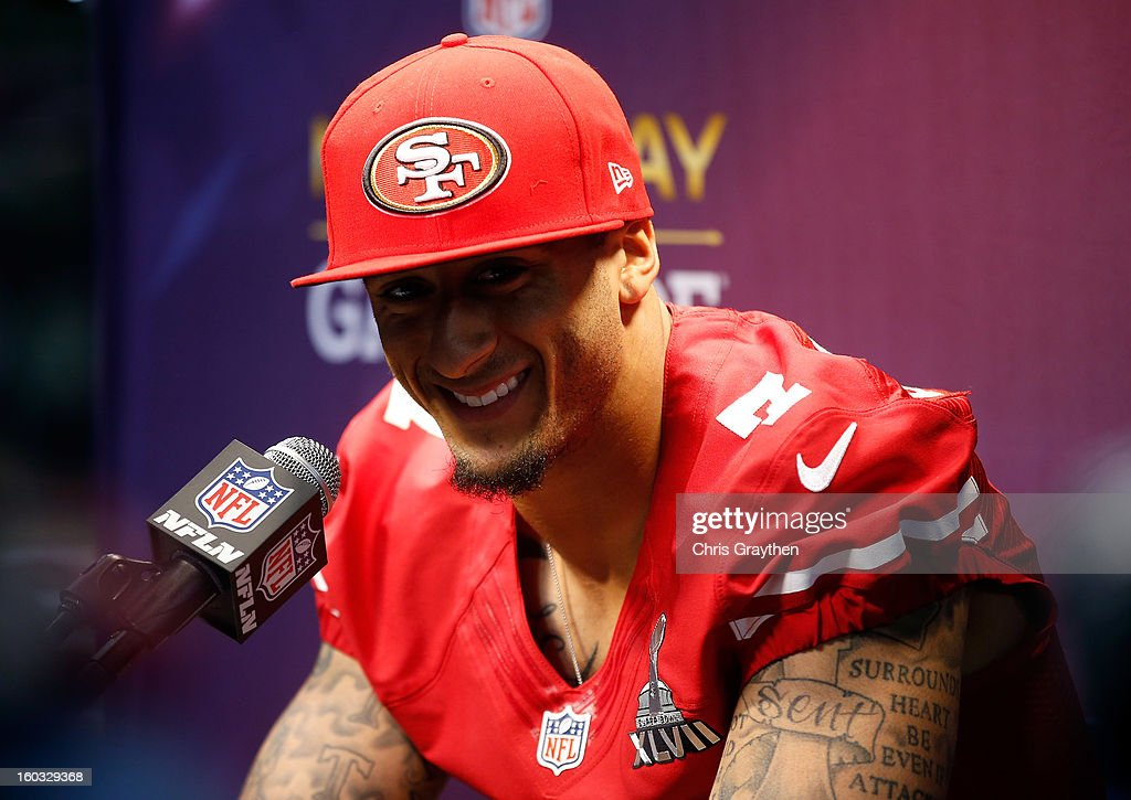 <a gi-track='captionPersonalityLinkClicked' href=/galleries/search?phrase=Colin+Kaepernick&family=editorial&specificpeople=5525694 ng-click='$event.stopPropagation()'>Colin Kaepernick</a> #7 of the San Francisco 49ers answers questions from the media during Super Bowl XLVII Media Day ahead of Super Bowl XLVII at the Mercedes-Benz Superdome on January 29, 2013 in New Orleans, Louisiana. The 49ers will take on the Baltimore Ravens on February 3, 2013 at the Mercedes-Benz Superdome.
