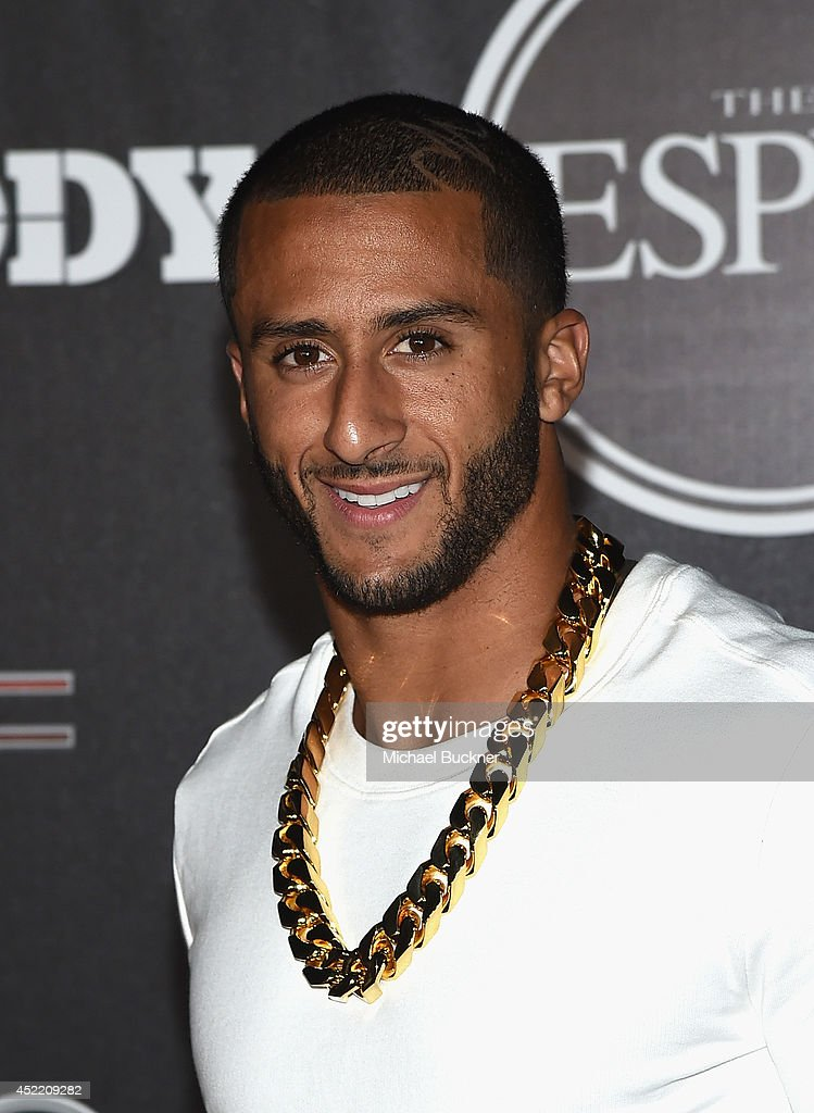 <a gi-track='captionPersonalityLinkClicked' href=/galleries/search?phrase=Colin+Kaepernick&family=editorial&specificpeople=5525694 ng-click='$event.stopPropagation()'>Colin Kaepernick</a> of the San Francisco 49ers arrives at the ESPN's BODY at ESPY's Pre-Party at Lure on July 15, 2014 in Hollywood, California.
