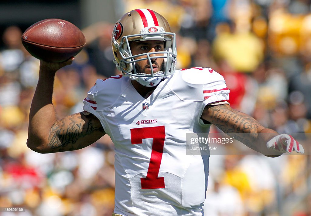 Colin Kaepernick #7 of the San Francisco 49ers drops back to pass in the first quarter during the game against the Pittsburgh Steelers on September 20, 2015 at Heinz Field in Pittsburgh, Pennsylvania.