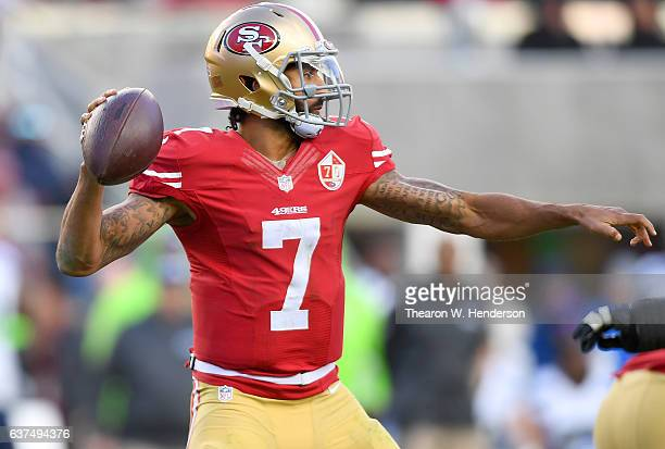 Colin Kaepernick of the San Francisco 49ers drops back to pass against the Seattle Seahawks during the second quarter of their NFL football game at...