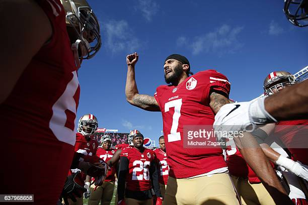 Colin Kaepernick of the San Francisco 49ers fires the team up on the field prior to the game against the Seattle Seahawks at Levi Stadium on January...