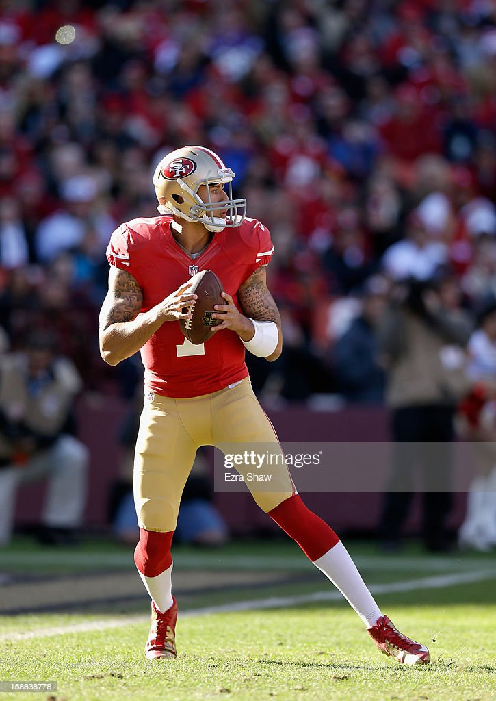 <a gi-track='captionPersonalityLinkClicked' href=/galleries/search?phrase=Colin+Kaepernick&family=editorial&specificpeople=5525694 ng-click='$event.stopPropagation()'>Colin Kaepernick</a> #7 of the San Francisco 49ers in action against the Arizona Cardinals at Candlestick Park on December 30, 2012 in San Francisco, California.