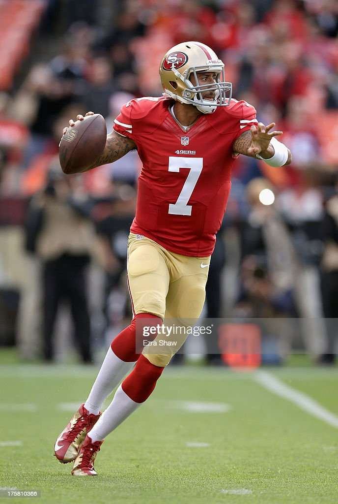 <a gi-track='captionPersonalityLinkClicked' href=/galleries/search?phrase=Colin+Kaepernick&family=editorial&specificpeople=5525694 ng-click='$event.stopPropagation()'>Colin Kaepernick</a> #7 of the San Francisco 49ers in action during their preseason NFL game against the Denver Broncos at Candlestick Park on August 8, 2013 in San Francisco, California.