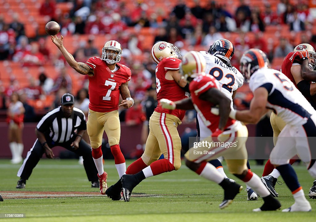 Colin Kaepernick #7 of the San Francisco 49ers in action during their preseason NFL game against the Denver Broncos at Candlestick Park on August 8, 2013 in San Francisco, California.