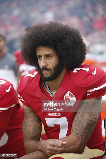 Colin Kaepernick of the San Francisco 49ers kneels on the sideline during the anthem prior to the game against the New York Jets at Levi Stadium on...