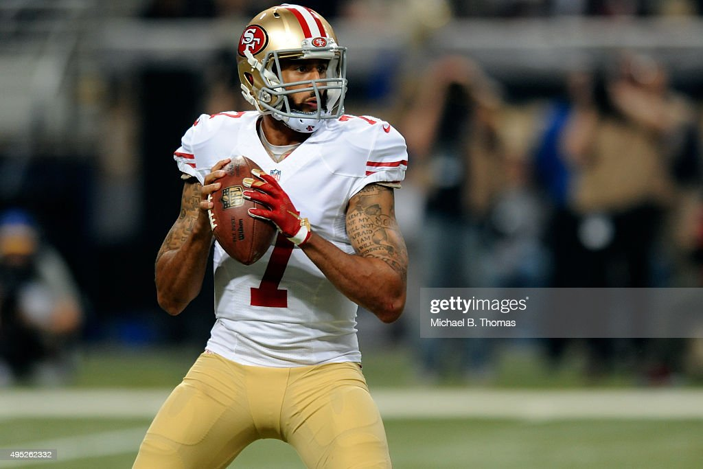 Colin Kaepernick of the San Francisco 49ers looks to pass against the St Louis Rams in the first quarter at the Edward Jones Dome on November 1 2015...