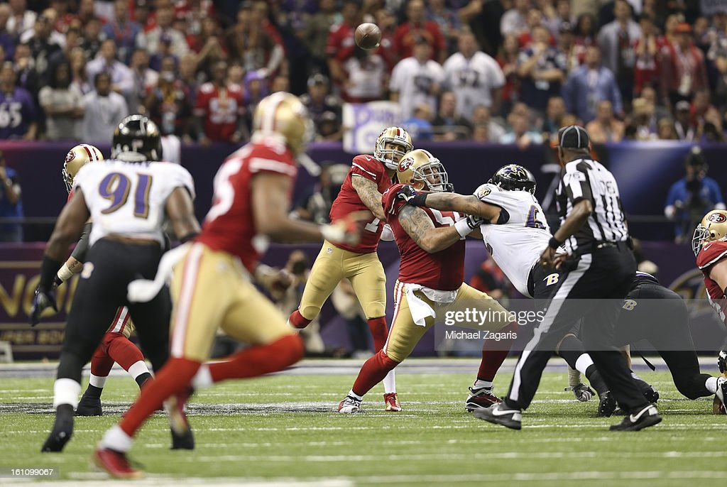 Colin Kaepernick #7 of the San Francisco 49ers passes to Michael Crabtree #15 against the Baltimore Ravens during Super Bowl XLVII at the Mercedes-Benz Superdome on February 3, 2013 in New Orleans, Louisiana. The Ravens won 34-31.