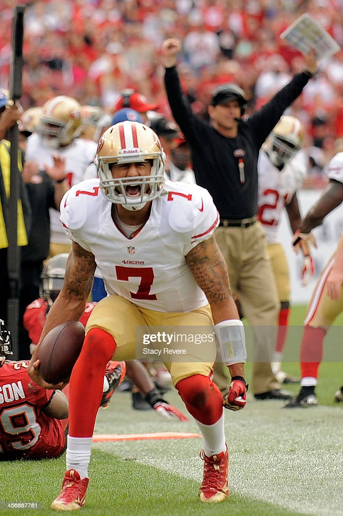 <a gi-track='captionPersonalityLinkClicked' href=/galleries/search?phrase=Colin+Kaepernick&family=editorial&specificpeople=5525694 ng-click='$event.stopPropagation()'>Colin Kaepernick</a> #7 of the San Francisco 49ers reacts to a first down against the Tampa Bay Buccaneers during a game at Raymond James Stadium on December 15, 2013 in Tampa, Florida. San Francisco won the game 33-14.
