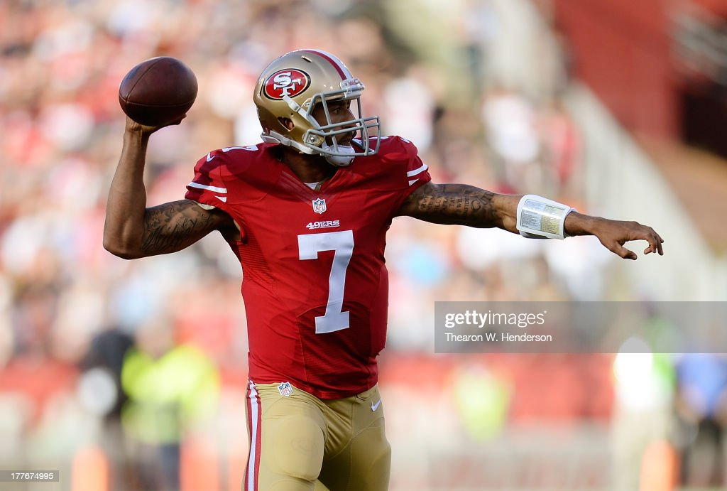 <a gi-track='captionPersonalityLinkClicked' href=/galleries/search?phrase=Colin+Kaepernick&family=editorial&specificpeople=5525694 ng-click='$event.stopPropagation()'>Colin Kaepernick</a> #7 of the San Francisco 49ers rolls out to pass in the first quarter against the Minnesota Vikings at Candlestick Park on August 25, 2013 in San Francisco, California.