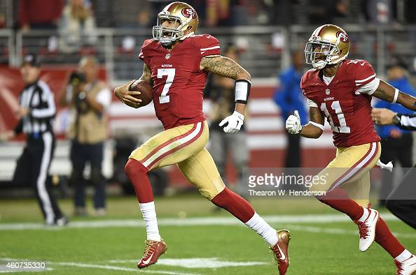 Colin Kaepernick of the San Francisco 49ers scrambles for a 90 yard touchdown in the third quarter against the San Diego Chargers at Levi's Stadium...