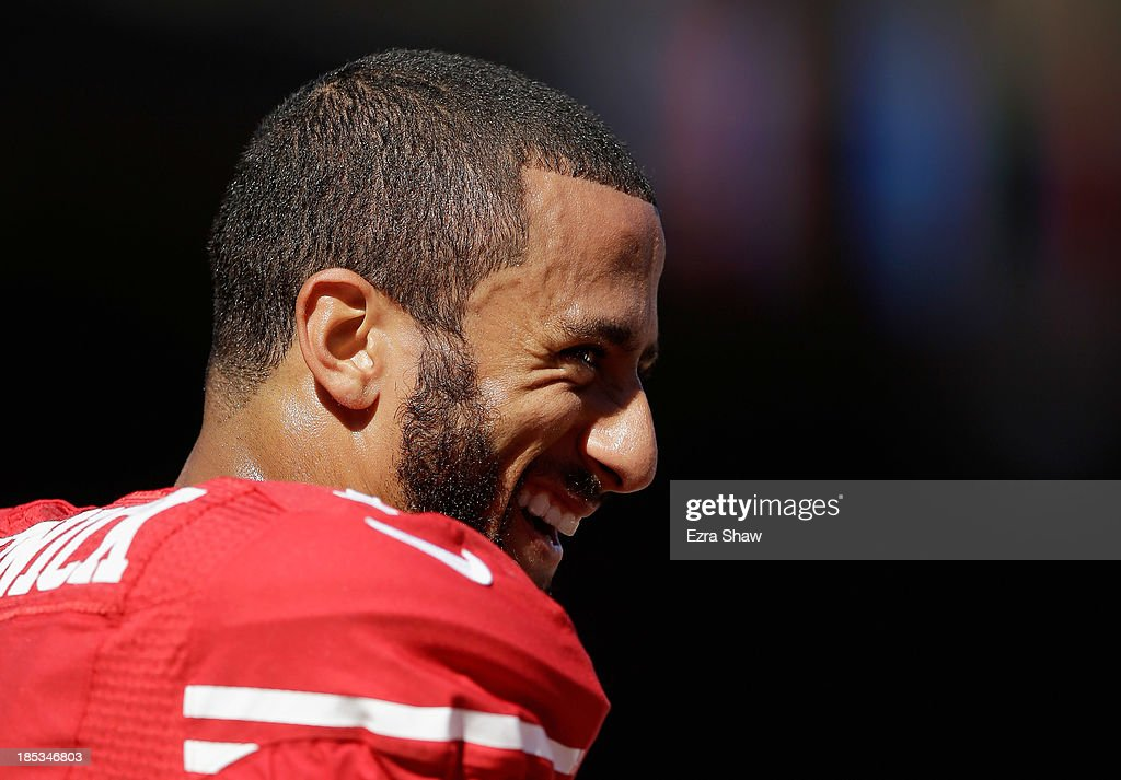 <a gi-track='captionPersonalityLinkClicked' href=/galleries/search?phrase=Colin+Kaepernick&family=editorial&specificpeople=5525694 ng-click='$event.stopPropagation()'>Colin Kaepernick</a> #7 of the San Francisco 49ers stands on the field before their game against the Arizona Cardinals at Candlestick Park on October 13, 2013 in San Francisco, California.