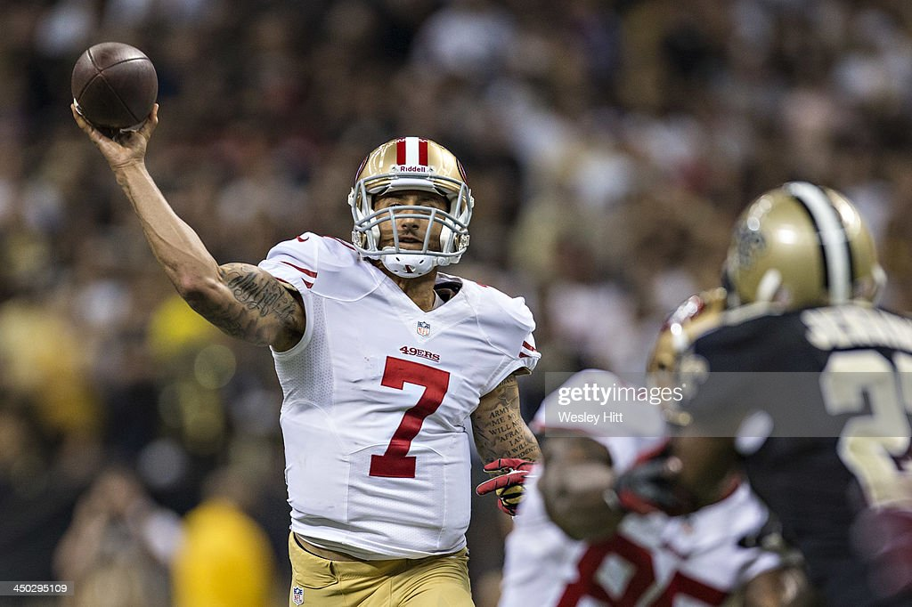 <a gi-track='captionPersonalityLinkClicked' href=/galleries/search?phrase=Colin+Kaepernick&family=editorial&specificpeople=5525694 ng-click='$event.stopPropagation()'>Colin Kaepernick</a> #7 of the San Francisco 49ers throws a pass against the New Orleans Saints at Mercedes-Benz Superdome on November 17, 2013 in New Orleans, Louisiana. The Saints defeated the 49ers 23-20.