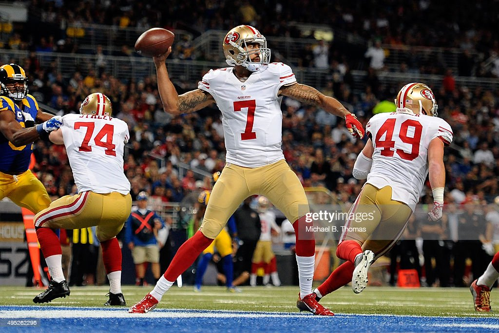 Colin Kaepernick #7 of the San Francisco 49ers throws a pass against the St. Louis Rams in the second quarter at the Edward Jones Dome on November 1, 2015 in St. Louis, Missouri.