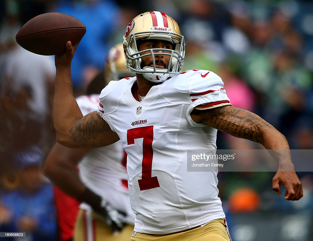 <a gi-track='captionPersonalityLinkClicked' href=/galleries/search?phrase=Colin+Kaepernick&family=editorial&specificpeople=5525694 ng-click='$event.stopPropagation()'>Colin Kaepernick</a> #7 of the San Francisco 49ers throws a pass during warm-ups prior to their game against the Seattle Seahawks at Qwest Field on September 15, 2013 in Seattle, Washington.