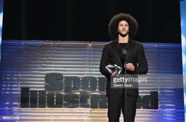 Colin Kaepernick receives the SI Muhammad Ali Legacy Award during SPORTS ILLUSTRATED 2017 Sportsperson of the Year Show on December 5 2017 at...