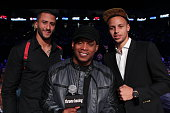 Colin Kaepernick Sway Calloway and Stephen Curry pose for a photo before the start of the Cruiserweight fight between Andre Ward and Paul Smith at...