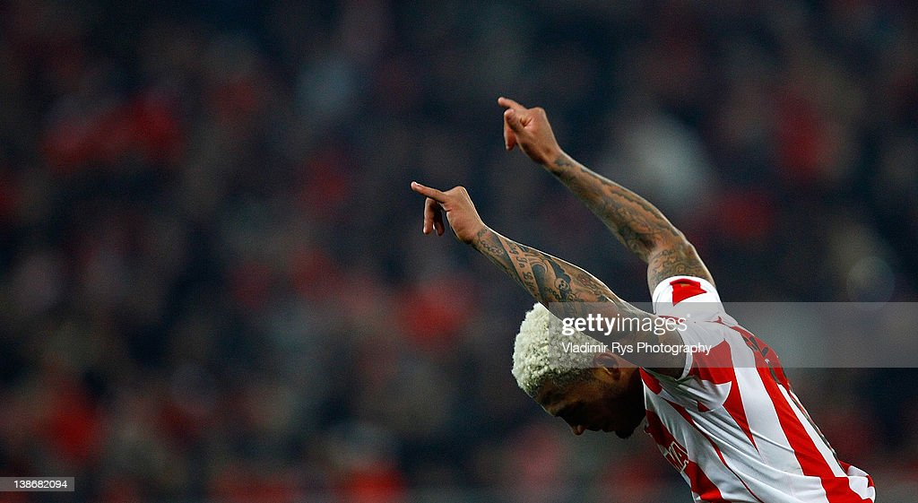 Colin Kazim Richards of Olympiacos reacts during the Superleague match between Olympiacos Piraeus and AEK Athens at Karaiskakis Stadium on February 10, 2012 in Athens, Greece.