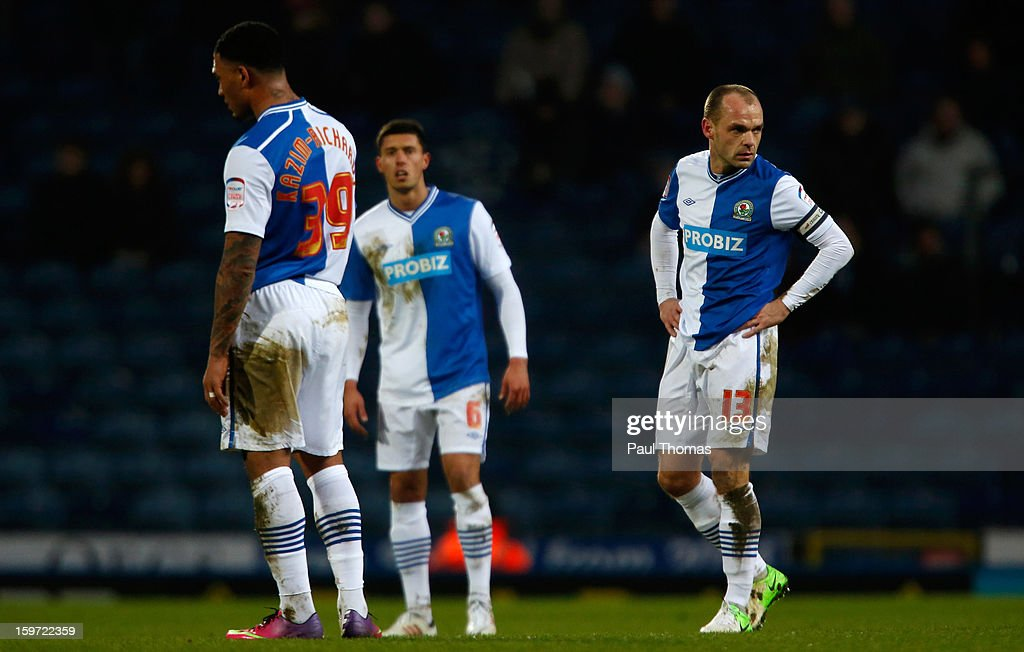 Colin Kazim-Richards, Jason Lowe and Danny Murphy of Blackburn react after Charlton score their second goal during the npower Championship match between Blackburn Rovers and Charlton Athletic at Ewood Park on January 19, 2013 in Blackburn, England.
