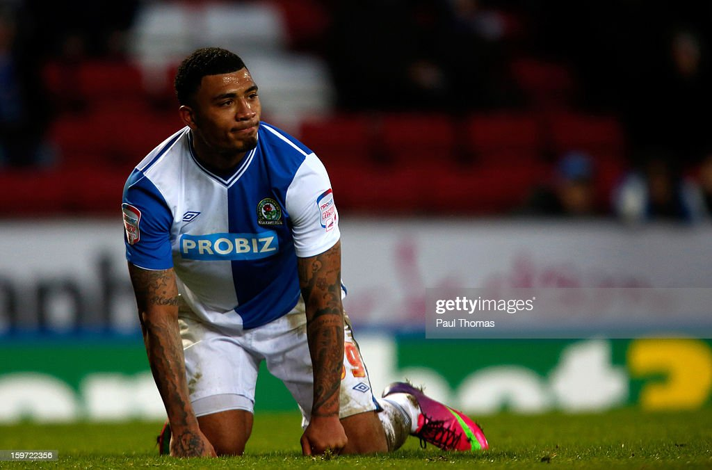 Colin Kazim-Richards of Blackburn reacts after missing a goal scoring chance during the npower Championship match between Blackburn Rovers and Charlton Athletic at Ewood Park on January 19, 2013 in Blackburn, England.