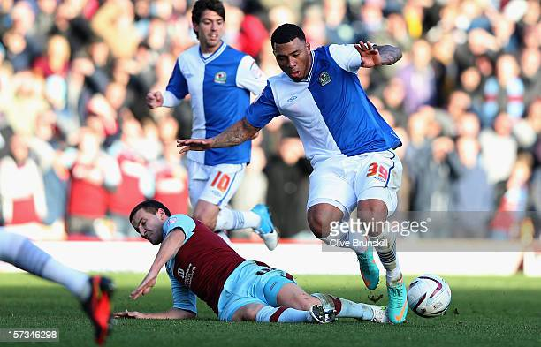 Colin KazimRichards of Blackburn Rovers is tackled by Martin Paterson of Burnley during the npower Championship match between Burnley and Blackburn...