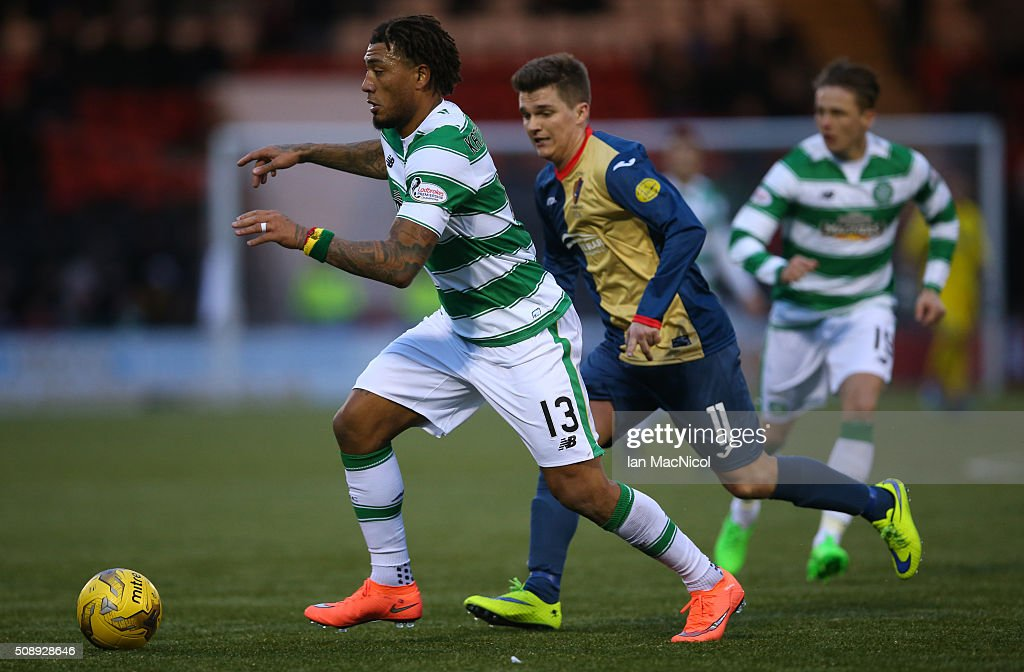 <a gi-track='captionPersonalityLinkClicked' href=/galleries/search?phrase=Colin+Kazim-Richards&family=editorial&specificpeople=684189 ng-click='$event.stopPropagation()'>Colin Kazim-Richards</a> of Celtic vies with Frazer Johnstone of East Kilbride during the William Hill Scottish Cup Fifth Round match between East Kilbride and Celtic at Excelsior Stadium on February 7, 2016 in Airdrie, Scotland.