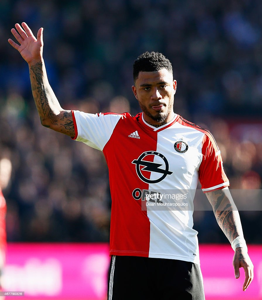 <a gi-track='captionPersonalityLinkClicked' href=/galleries/search?phrase=Colin+Kazim-Richards&family=editorial&specificpeople=684189 ng-click='$event.stopPropagation()'>Colin Kazim-Richards</a> of Feyenoord looks on during the Dutch Eredivisie match between Feyenoord and PSV Eindhoven at De Kuip on March 22, 2015 in Rotterdam, Netherlands.