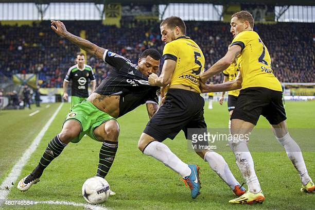Colin KazimRichards of Feyenoord Remy Amieux of NAC Breda Gilles Swerts of NAC Breda during the Dutch Eredivisie match between NAC Breda and...