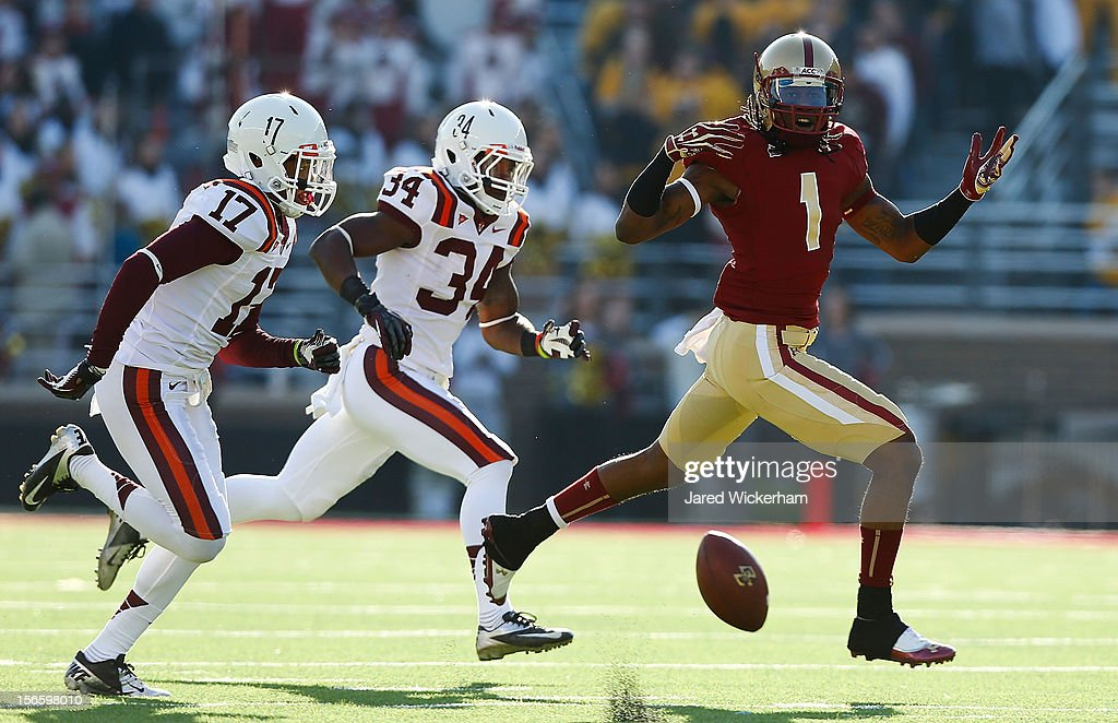 Colin Larmond Jr #1 of the Boston College Eagles reacts after failing to catch a pass against the Virginia Tech Hokies during the game on November 17, 2012 at Alumni Stadium in Chestnut Hill, Massachusetts.