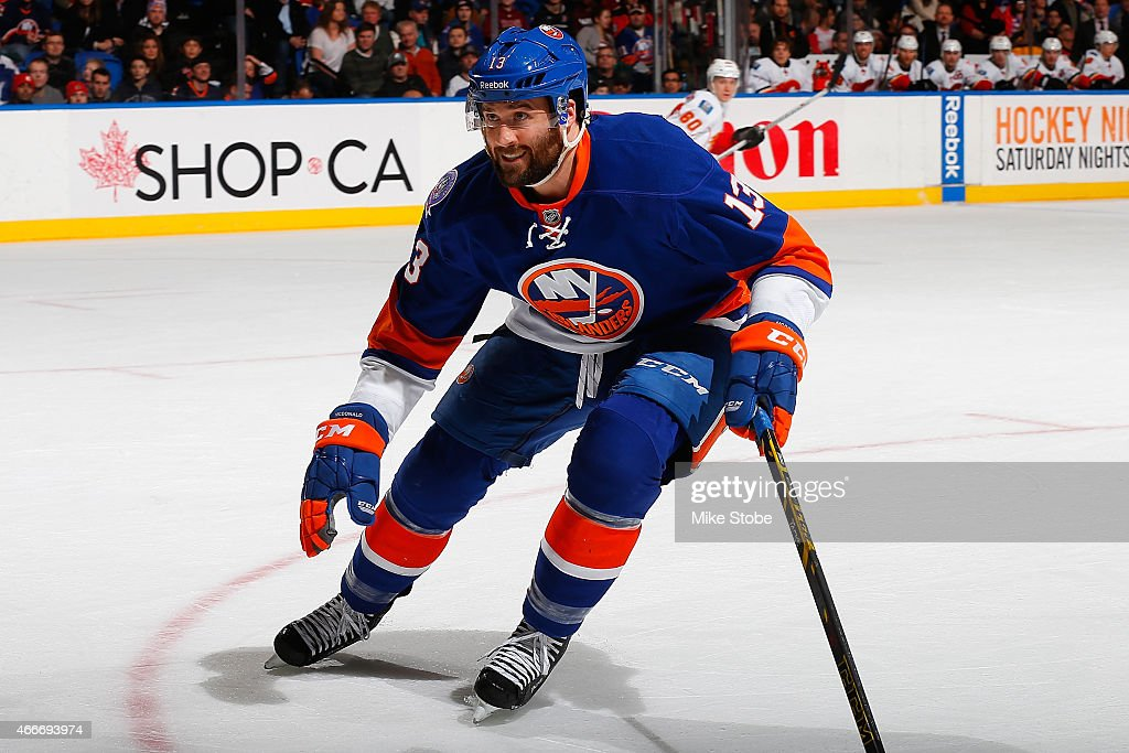 <a gi-track='captionPersonalityLinkClicked' href=/galleries/search?phrase=Colin+McDonald+-+Ice+Hockey+Player&family=editorial&specificpeople=10833458 ng-click='$event.stopPropagation()'>Colin McDonald</a> #13 of the New York Islanders skates against the Calgary Flames at Nassau Veterans Memorial Coliseum on February 27, 2015 in Uniondale, New York. The New York Islanders defeated the Calgary Flames 2-1.