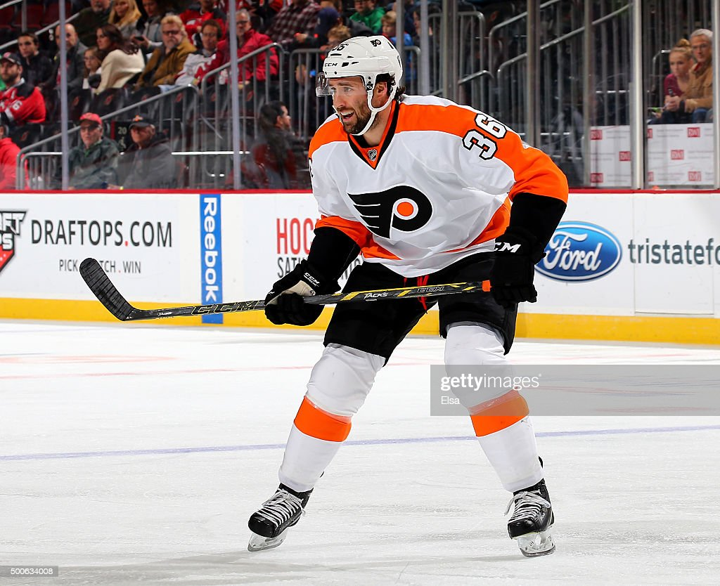 <a gi-track='captionPersonalityLinkClicked' href=/galleries/search?phrase=Colin+McDonald+-+Ice+Hockey+Player&family=editorial&specificpeople=10833458 ng-click='$event.stopPropagation()'>Colin McDonald</a> #36 of the Philadelphia Flyers waits for the face off in the first period against the New Jersey Devils on December 4, 2015 at Prudential Center in Newark, New Jersey.The Philadelphia Flyers defeated the New Jersey Devils 4-3 in overtime.