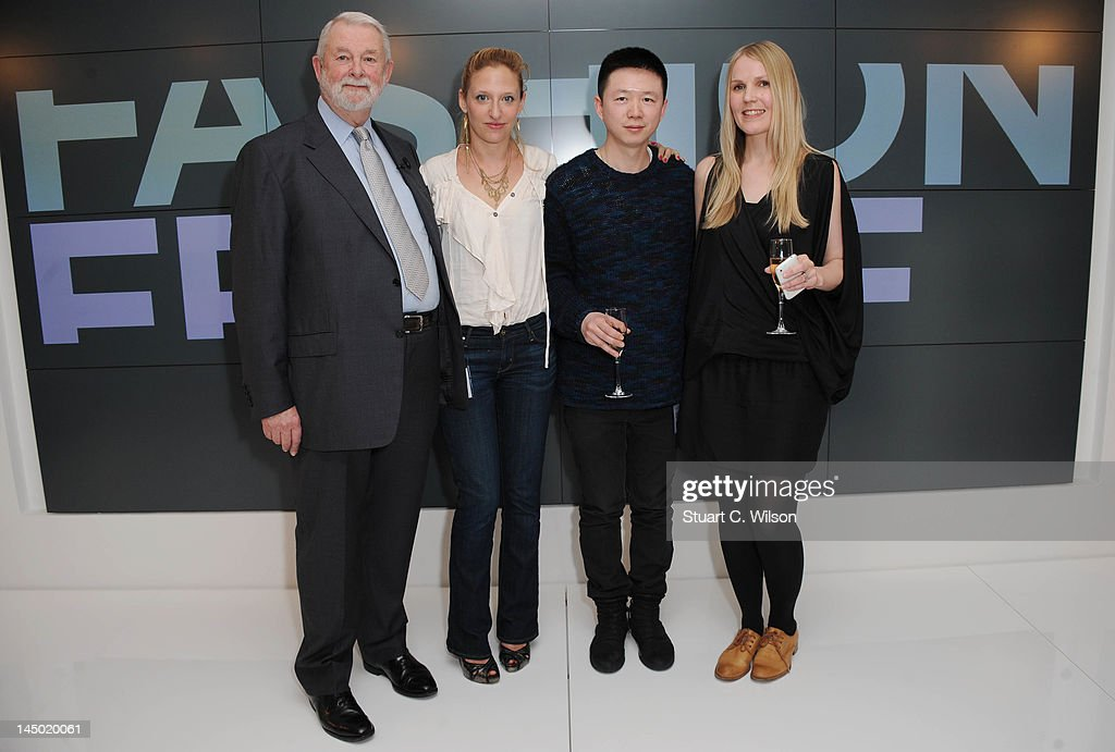 Colin McDowell Vita Gottlieb Haizhen Wang and Teija Eilola attend a photocall to announce the finalist's of Fashion Fringe at Burberry on May 22 2012...