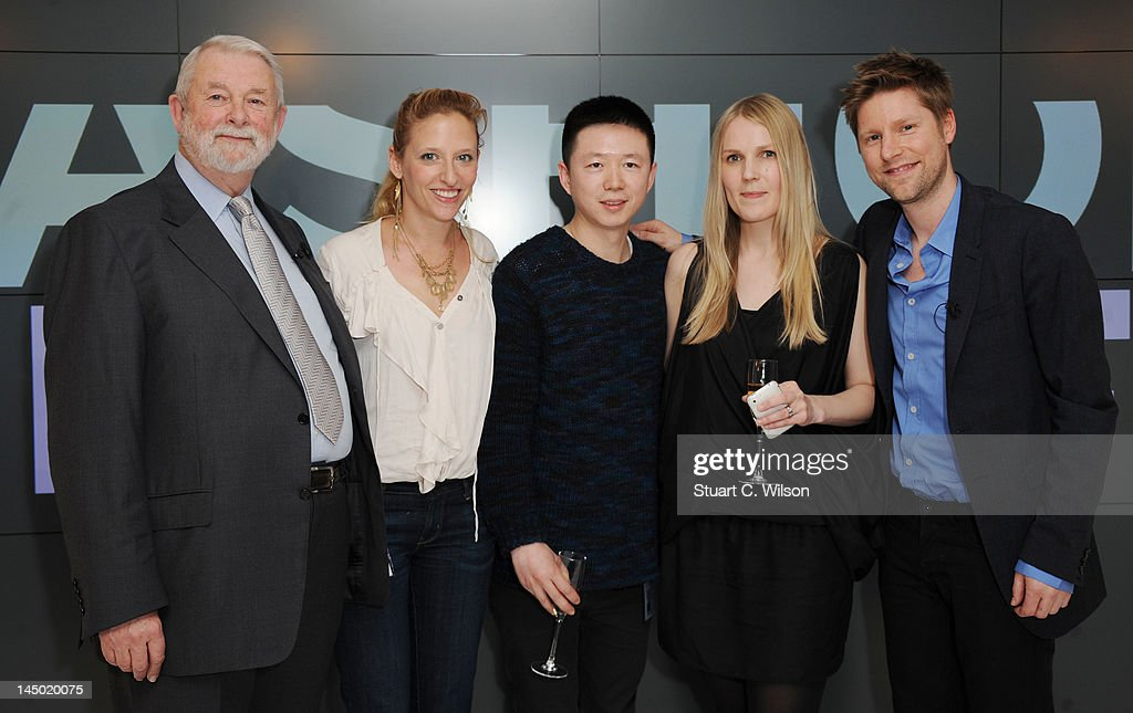 Colin McDowell Vita Gottlieb Haizhen Wang Teija Eilola and Christopher Bailey attend a photocall to announce the finalist's of Fashion Fringe at...