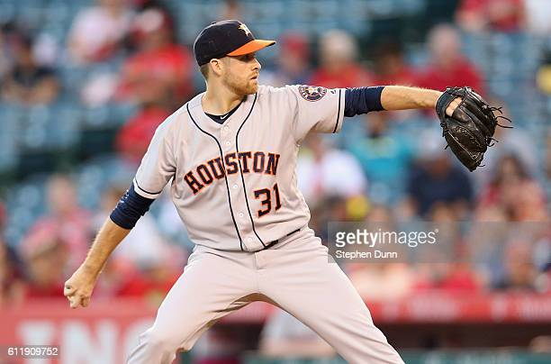 Colin McHugh of the Houston Astros Throws a pitch in the first inning against the Los Angeles Angels of Anaheim at Angel Stadium of Anaheim on...