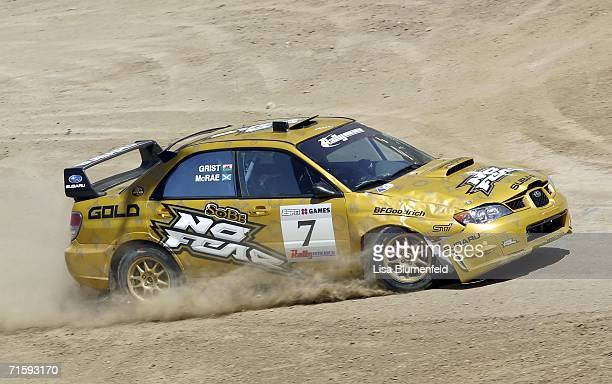 Colin McRae and Nicky Grist of Great Britian compete in the Rally Car Race during the ESPN X Games on August 5 2006 at the Home Depot Center in...