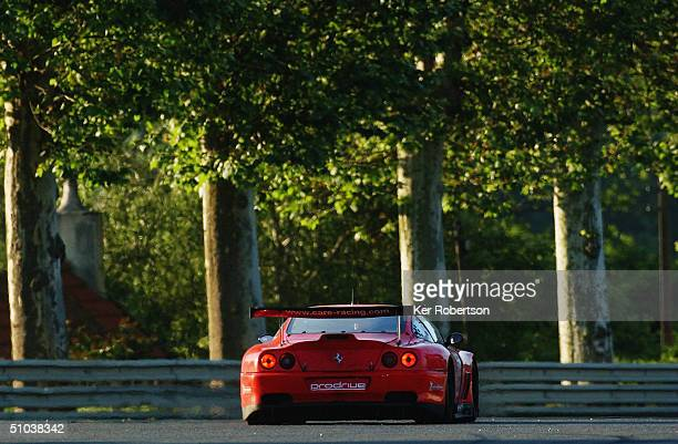 Colin McRae of Scotland and the Prodrive Racing Ferrari team drives during the Le Mans 24 Hour race at the Circuit des 24 Hours du Mans on June 12...